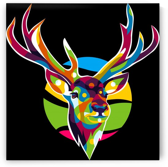 The Colorful Deer with Two Horns Pop Art Style by wpaprint