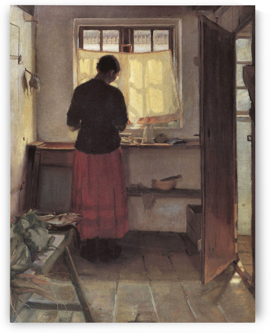 Girl in the kitchen -1- by Anna Ancher by Anna Ancher