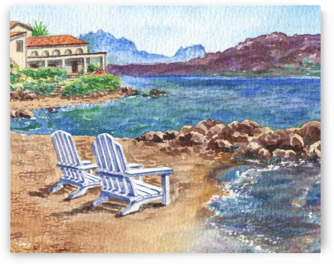 Two Chairs To Relax Beach Shore With Mountains  by Irina Sztukowski
