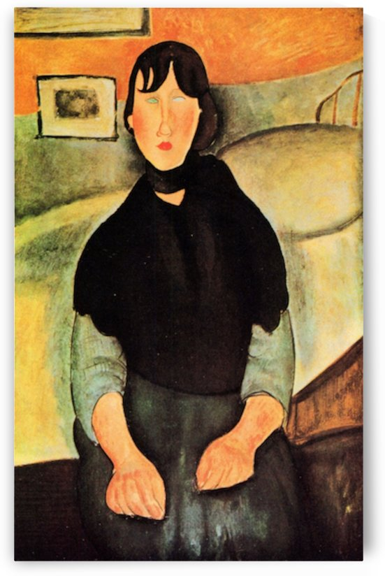 Modigliani - Young brown woman sitting on a bed by Modigliani