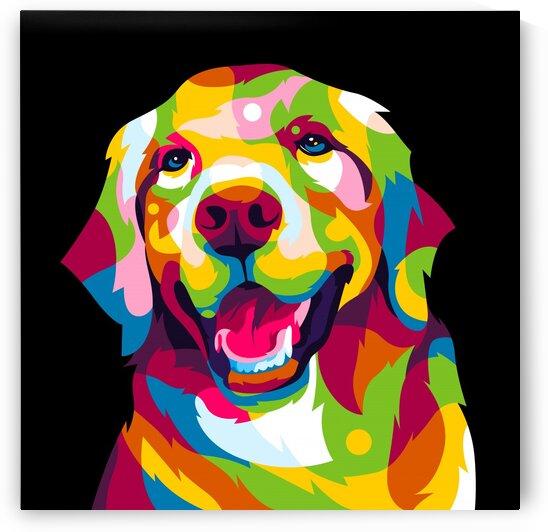 The Colorful Golden Retriever Dog Pop Art Portrait by wpaprint