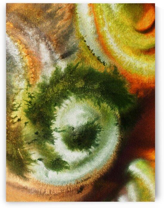 Fall Vortex Of Green Yellow Orange And Brown Abstract Watercolor  by Irina Sztukowski