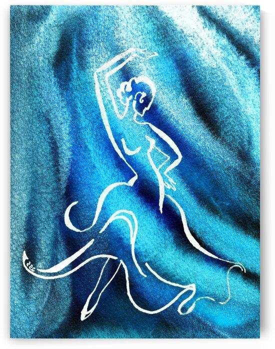 Cool Blue Flamenco Dance Abstract Watercolor  by Irina Sztukowski