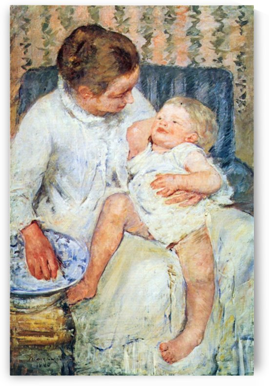 Mother washing the tired child by Cassatt by Cassatt