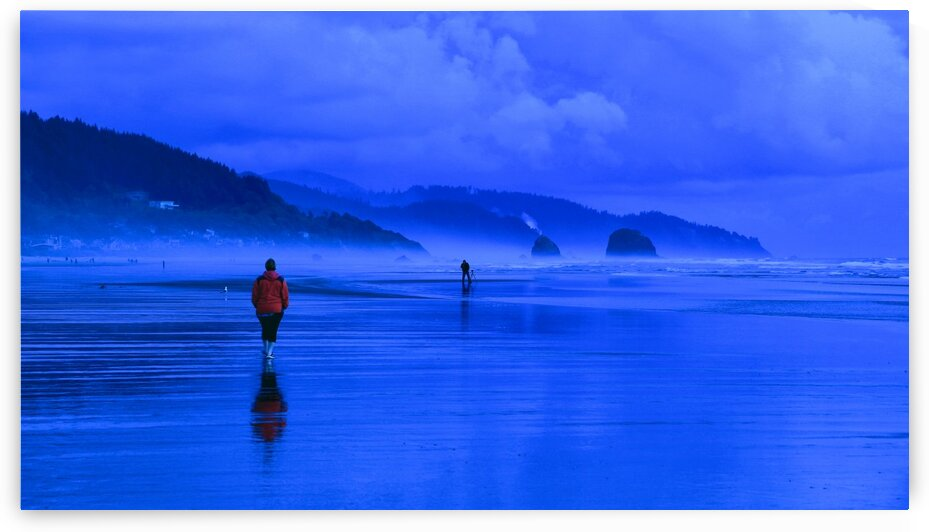 Woman in Red on Blue Beach by Bern E King Photography