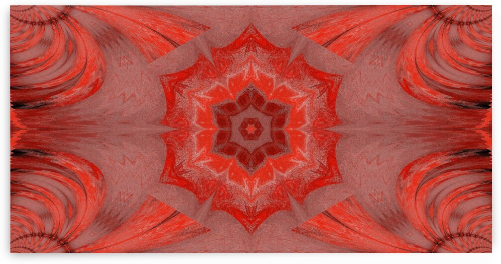Red Lotus In Orange by Sherrie Larch