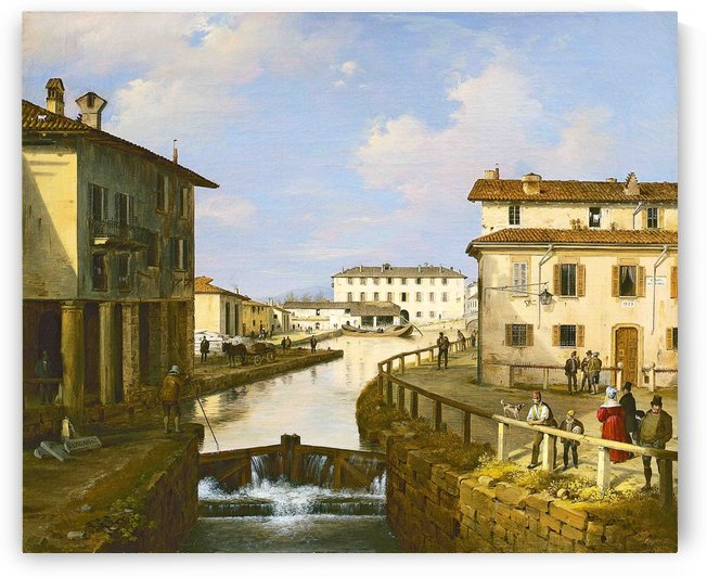 Il Naviglio dal ponte di San Marco by Angelo Inganni