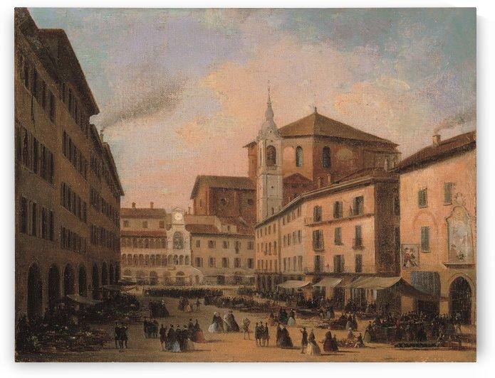 Piazza della Vittoria a Pavia olio su tela by Angelo Inganni