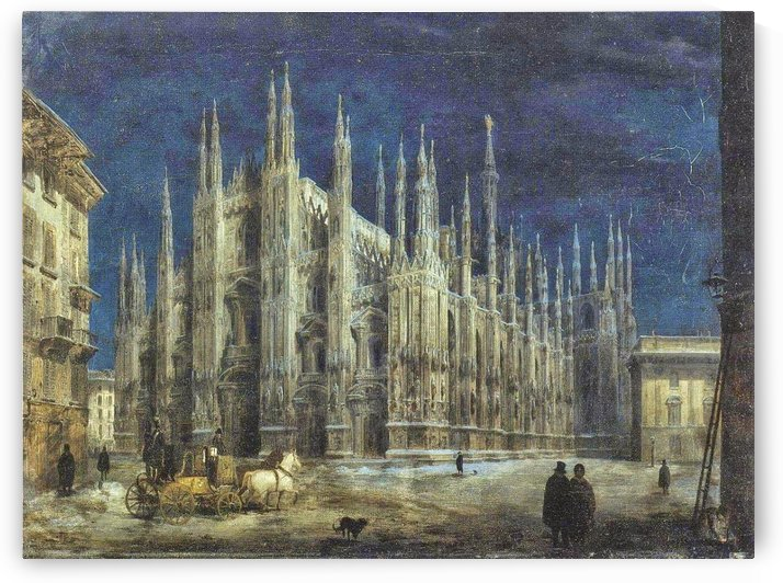 Night view of Piazza del Duomo in Milan by Angelo Inganni