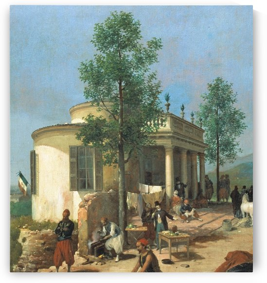 Zouave camp on Brescia city walls in June 1859 by Angelo Inganni