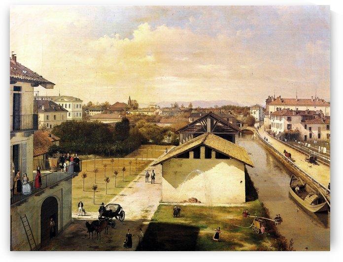 Veduta del Naviglio di San Marco dalla terrazza di Ca Medici, Milano, 1837 by Angelo Inganni