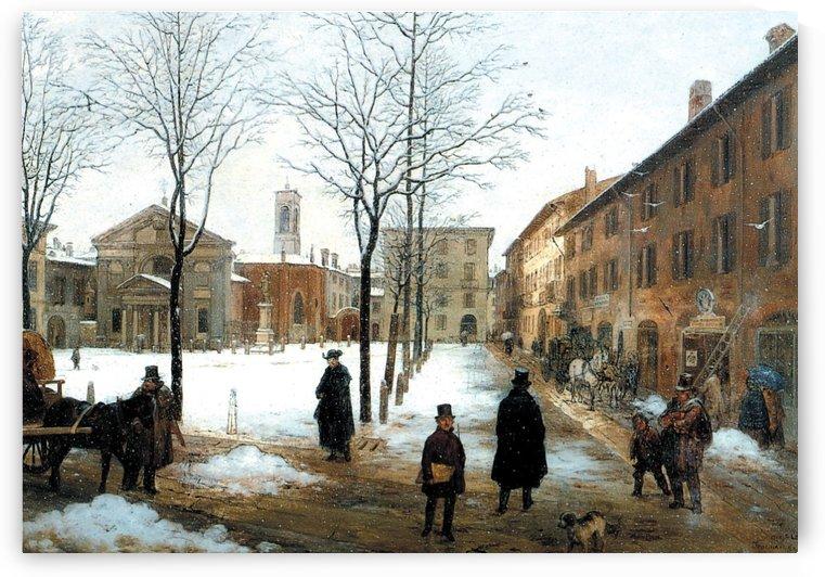 Veduta della Piazza Borromeo in Milano con neve cadente by Angelo Inganni