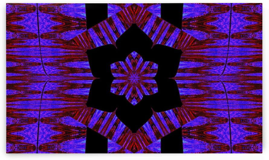 Purple And Bright Red Lotus In Black by Sherrie Larch