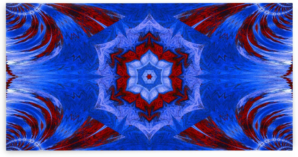 Blue Lotus In Red by Sherrie Larch