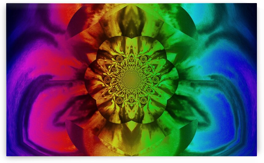 Lotus In Rainbow Satin by Sherrie Larch
