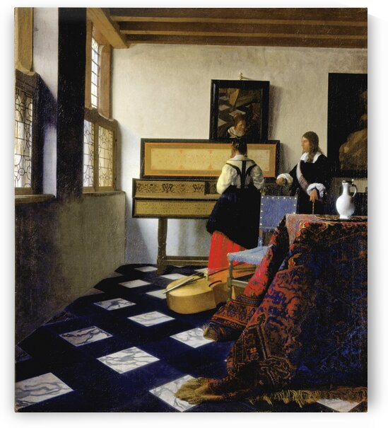Johannes Vermeer: Lady at the Virginal with a Gentleman - The Music  Lesson HD 300ppi by Stock Photography