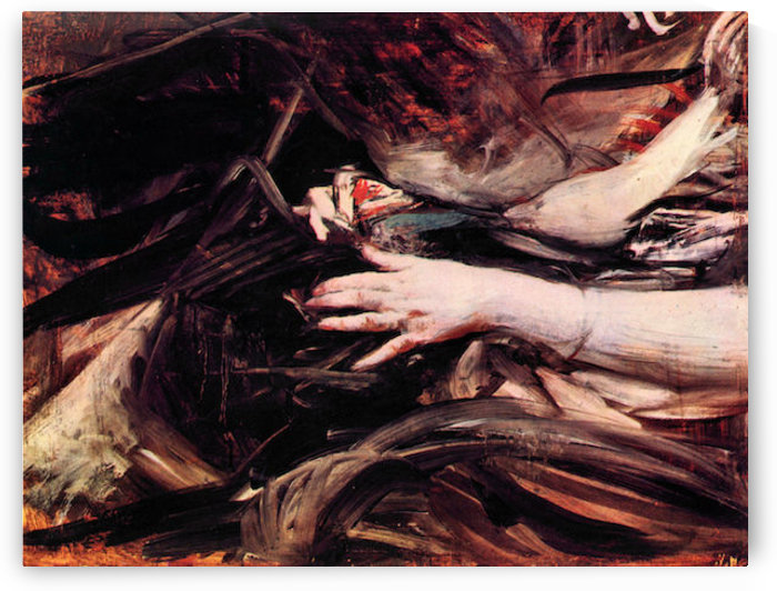 Hands of a woman sewing by Giovanni Boldini by Giovanni Boldini
