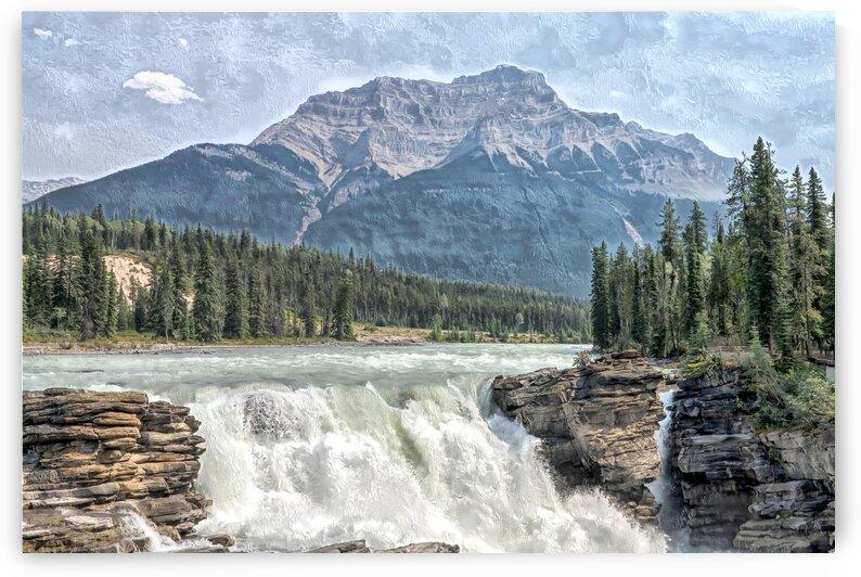 Athabasca Falls Surreal Painting by Jonathan Kozub