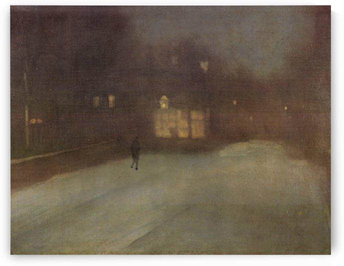 Nocturne Grey and Gold Snow in Chelsea by Whistler by Whistler