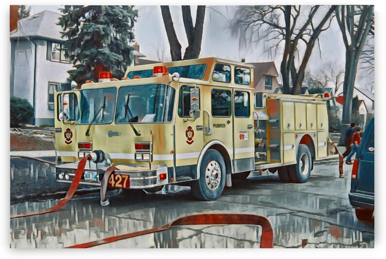 WFD Engine 427 Fire Scene 1990s Painting by Jonathan Kozub