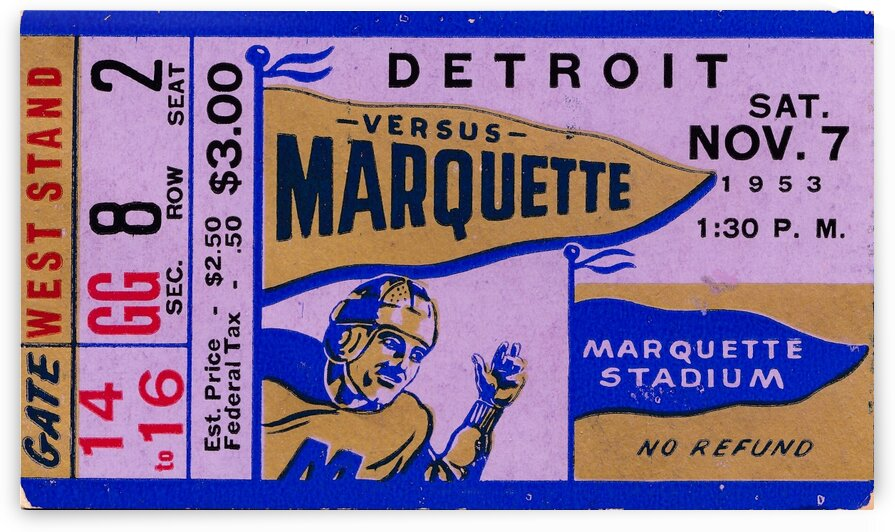 1943_College_Football_Marquettevs.Detroit_MarquetteStadium_TicketStubArt by Row One Brand
