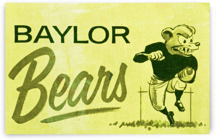 1955_College_Football_BaylorBears_CartoonCollegeMascotArt by Row One Brand