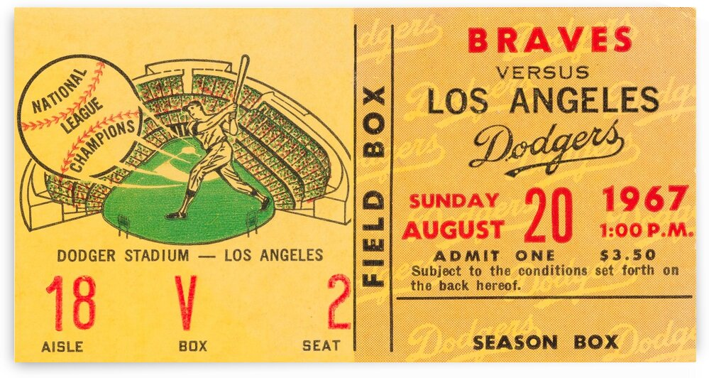1967 la dodgers atlanta braves baseball sports ticket art 1  by Row One Brand