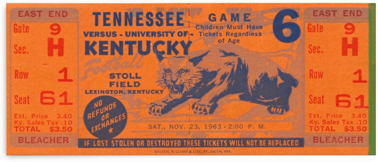 Vintage Kentucky Wildcats Football Ticket Art by Row One Brand