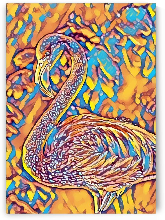 Flamingo 2 Yellow Blue Mix by Indian Unity Club