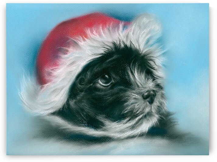 Adorable Black Christmas Puppy by MM Anderson