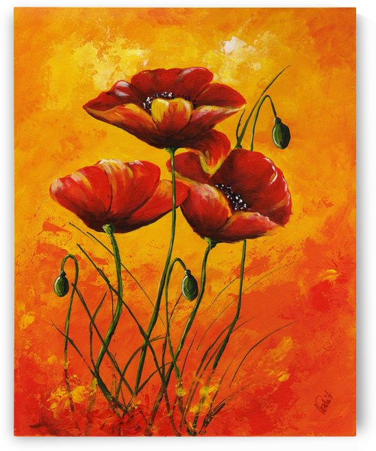 Edit Voros Painting Red Poppies 002 by Edit Voros