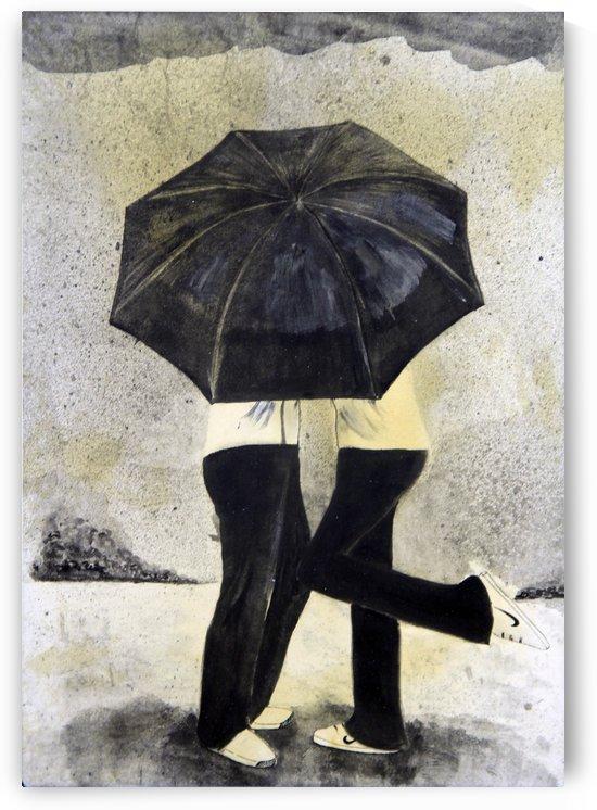 Lovers under umbrella by Varun Tandon