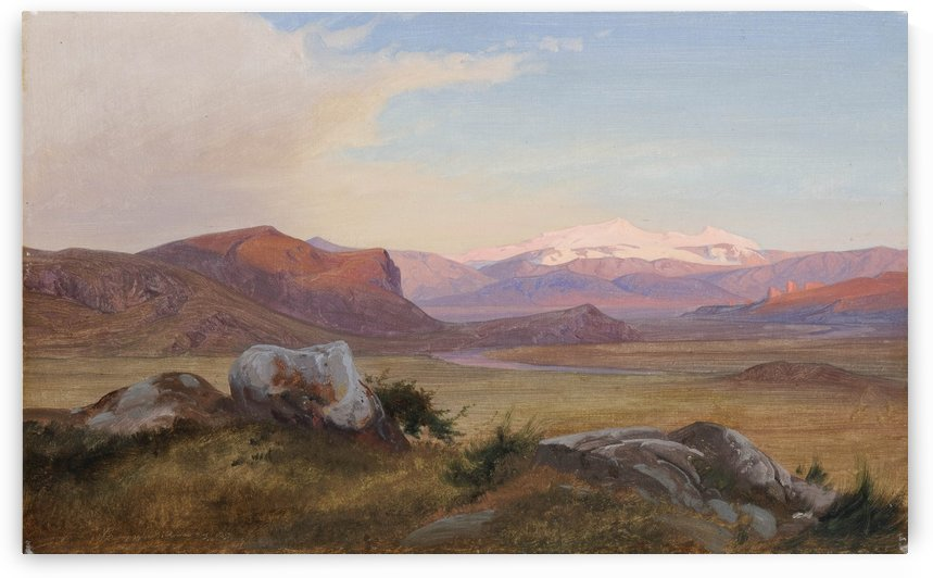 Landscape with snow in the mountains by Johan Thomas Lundbye