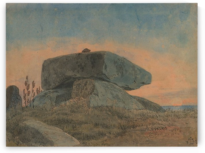 A Menhir in the Sunset by Johan Thomas Lundbye