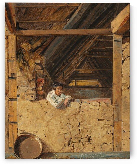 Peter Christian Skovgaard appuye contre un muret dans une etable, 1843 by Johan Thomas Lundbye