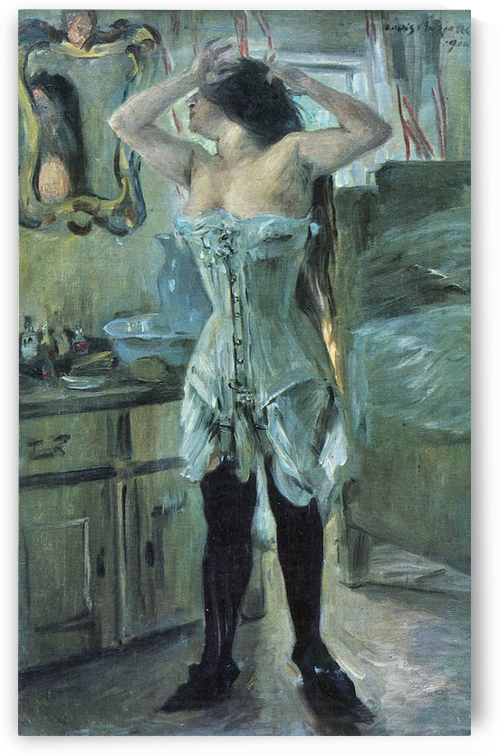 In a corset by Lovis Corinth by Lovis Corinth