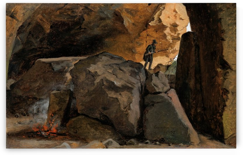 Hunter in a cave in Cervara by Martinus Christian Wesseltoft Rorbye