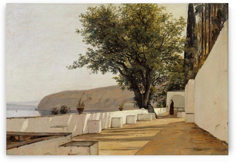 Roerbye Parti i naerheden af Sorrento med udsigt til haven - 1835 by Martinus Christian Wesseltoft Rorbye