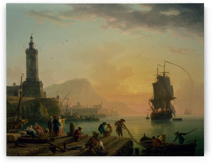 A Calm at a Mediterranean Port by Claude-Joseph Vernet