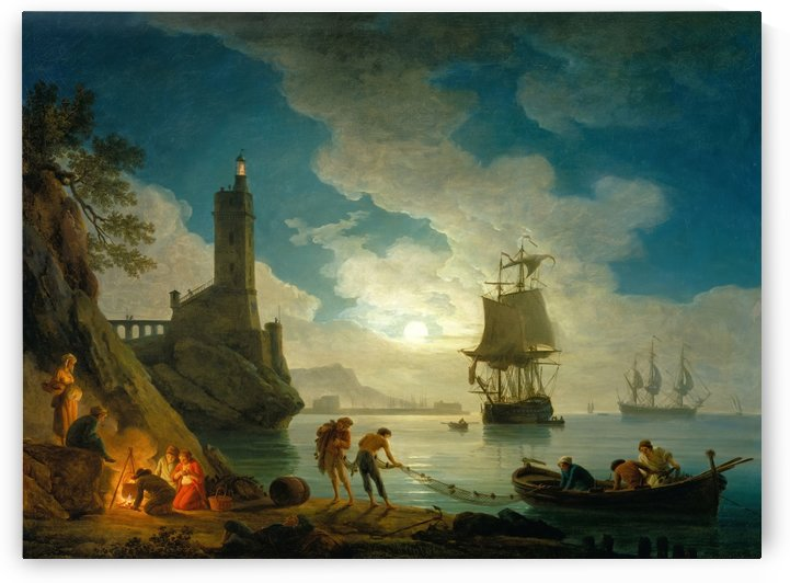 A harbor in moonlight by Claude-Joseph Vernet
