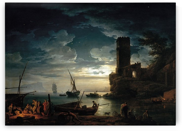 Night scene along the Mediteranean coast by Claude-Joseph Vernet