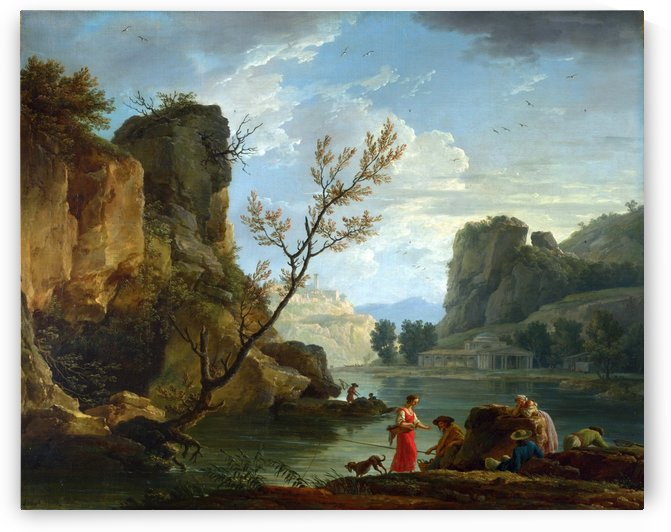 A River with Fishermen by Claude-Joseph Vernet