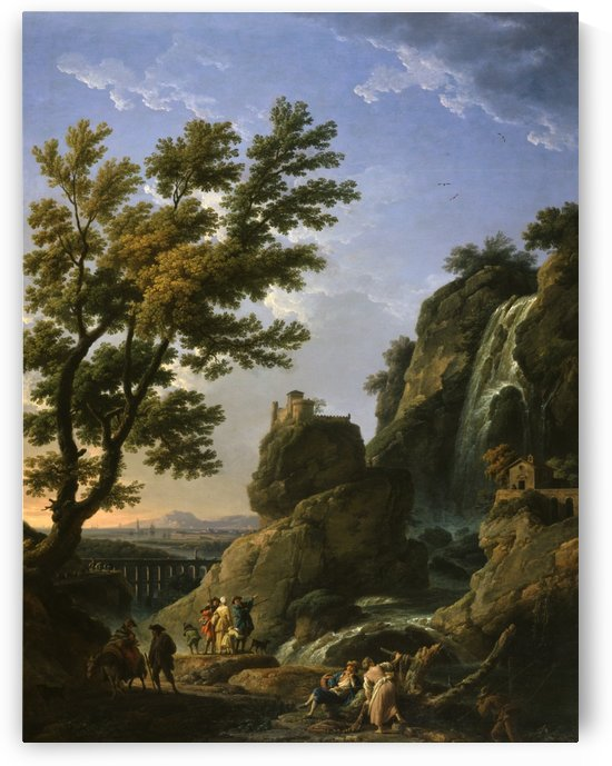 Landscape with Waterfall and Figures by Claude-Joseph Vernet