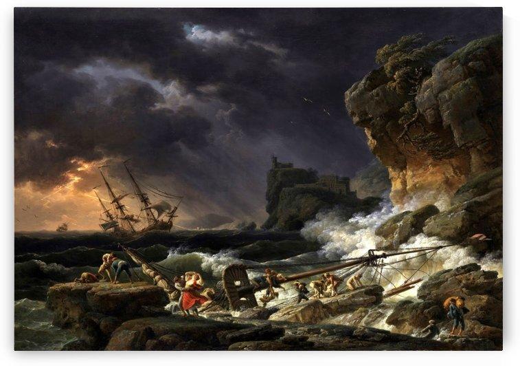 Tempete de mer avec epaves de navires by Claude-Joseph Vernet