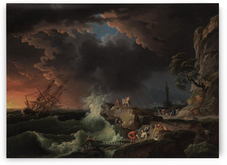 A shipwreck with figures coming ashore by Claude-Joseph Vernet
