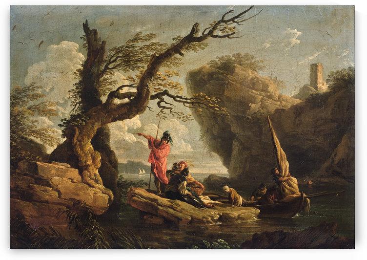 Soldats et paysans sur un rocher, huile sur toile, signee et localisee by Claude-Joseph Vernet