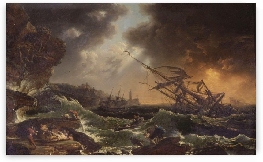 Ships tossed on a stormy sea by Claude-Joseph Vernet