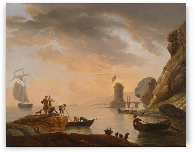 Lighthouse in the morning by Claude-Joseph Vernet
