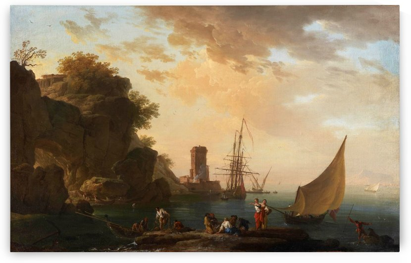 An Inlet near Naples with a Castle and Fisherfolk by Claude-Joseph Vernet