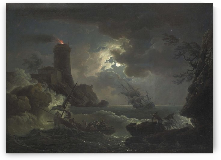 Shipwrecked figures and fishermen bringing their nets in a storm, a Lighthouse beyond by Claude-Joseph Vernet